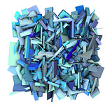3d blue abstract shape fragmented backdrop