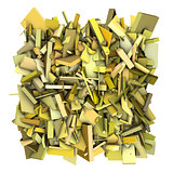 3d yellow abstract fragmented pattern backdrop