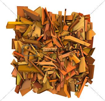 3d shape fragmented pattern orange backdrop
