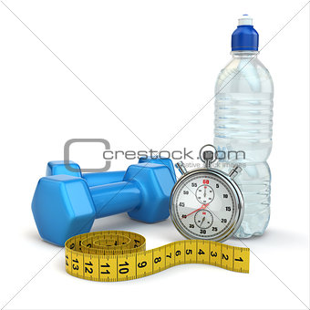 Fitness and dietimg concept. Stopwatch, dumbbells and water.