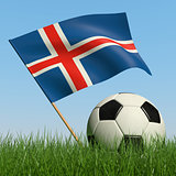 Soccer ball in the grass and flag of Iceland.
