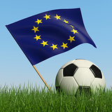 Soccer ball in the grass and flag of European Union.