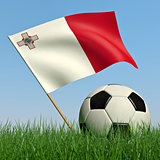 Soccer ball in the grass and the flag of Malta