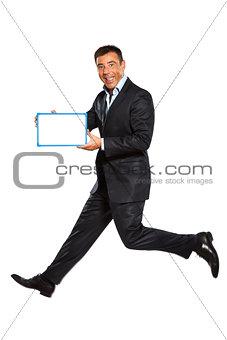 one man running jumping holding whiteboard