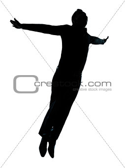 one business man jumping flying wellness silhouette