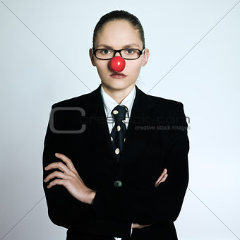 business woman clown nose serious funny