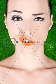 Fashion portrait of a woman pulling a strange face