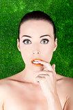 Beautiful nervous woman biting her finger
