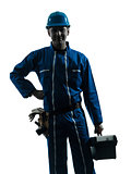 repair man worker standing smiling  silhouette