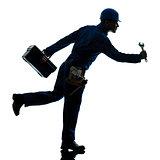 repair man worker running urgency silhouette