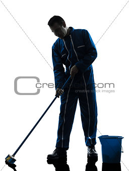 man janitor cleaner cleaning silhouette