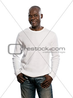 Casual afro American man standing with hands in pocket
