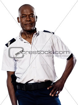 Mature policeman with hand on waist