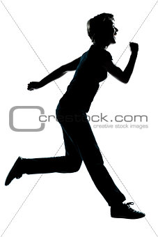 one young teenager girl silhouette happy running