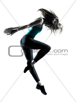one woman dancer jumping stetching fitness workout
