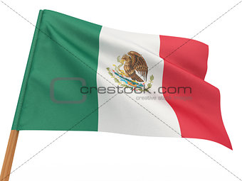 flag fluttering in the wind. Mexico