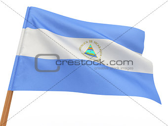 flag fluttering in the wind. Nicaragua
