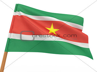 flag fluttering in the wind. Surinam