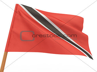 flag fluttering in the wind. Trinidad and Tobago