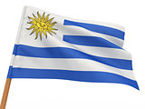 flag fluttering in the wind. Uruguay