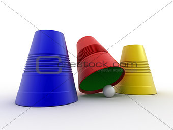 Three colored plastic cups with sphere. Right choice