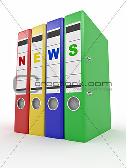 Archiveof news. Many folders. 3d