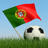 Soccer ball in the grass and flag of Portugal.
