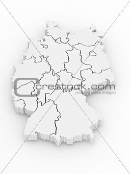 Three-dimensional map of Germany. 3d