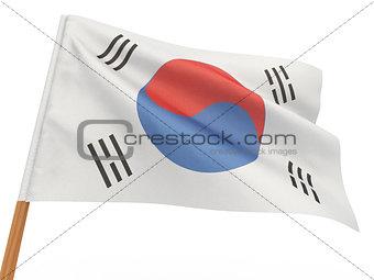 flag fluttering in the wind. South korea