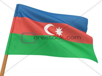 flag fluttering in the wind. Azerbaijan