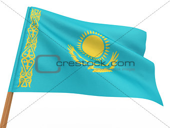 flag fluttering in the wind. Kazakhstan