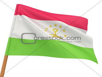 flag fluttering in the wind. Tajikistan