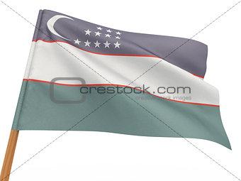 flag fluttering in the wind. Uzbekistan