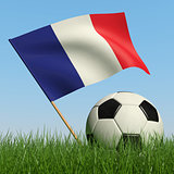 Soccer ball in the grass and flag of France.