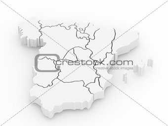 Three-dimensional map of Spain. 3d
