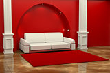 Inteiror. Sofa between the columns in red room