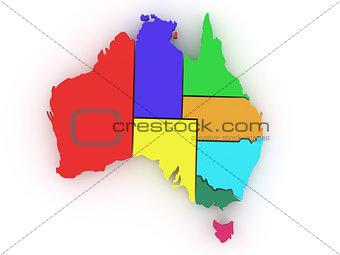 Three-dimensional map of Australia