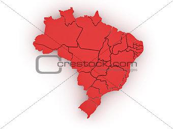 Three-dimensional map of Brazil. 3d