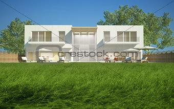 Modern villa day view