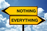 Nothing or everything, opposite signs