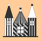 Monochrome design castle