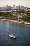 Fort Lauderdale Homes and Skyline with Sailboat