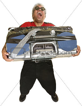 Hysterical Man with Boom Box