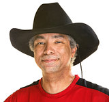 Cheerful Man in Cowboy Hat