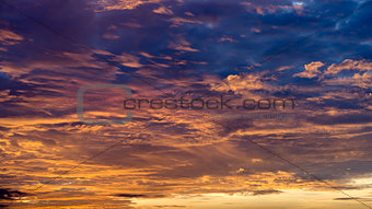 Beautiful orange and blue clouds Horizontal