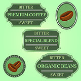 Set of bitter sweet coffee on green badge