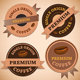 Set of vintage retro coffee badges