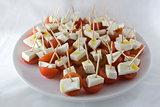 Cherry tomato brochettes plate