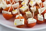 Cherry tomato brochettes detail