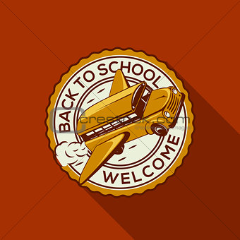 Back to school label with school bus, vector Eps10 illustration.